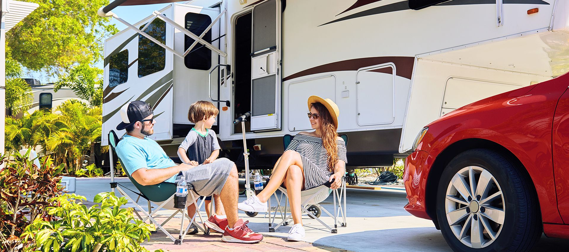 Family enjoying a rented RV